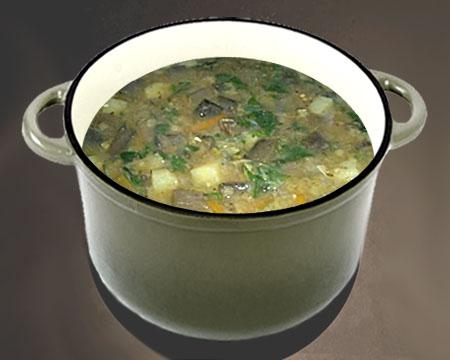 Гороховый суп с баклажанами в кастрюле