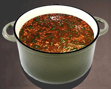 Суп харчо с пшеном в кастрюле