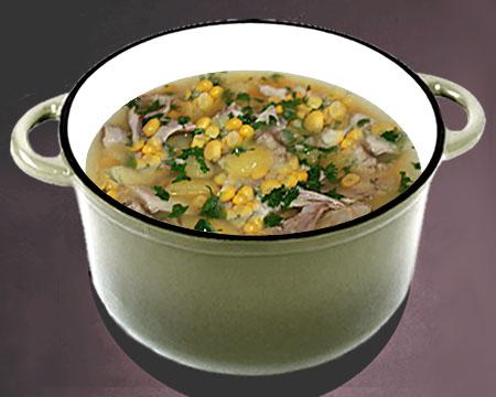 Куриный суп с кукурузой в кастрюле