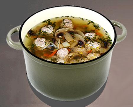 Грибной суп с фрикадельками в кастрюле