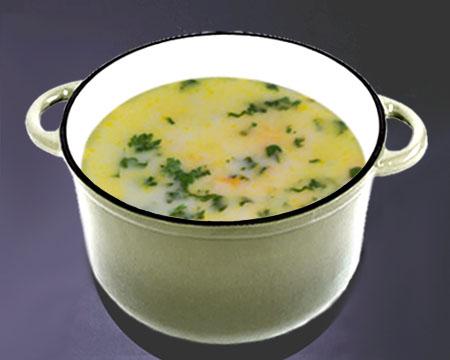 Сырный суп с кабачками в кастрюле